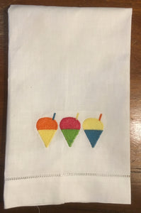 EMBROIDERED LINEN HAND TOWEL MULTI SNOWBALLS