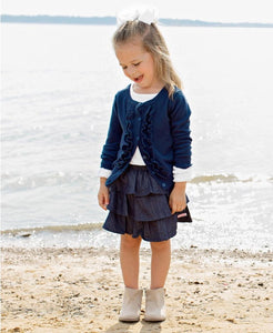 DRESSY RUFFLE FRONT CARDIGAN SWEATER NAVY