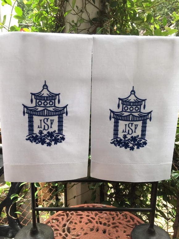 MONOGRAM 'HONG KONG' PAGODA GUEST OR HAND TOWEL