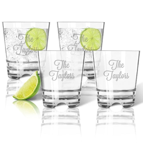 ACRYLIC MONOGRAM ROCKS/DOUBLE OLD FASHION GLASSES Set of 4