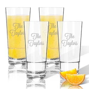 MONOGRAM ACRYLIC HIGHBALL OR ICE TEA GLASSES Set of 4