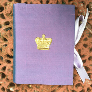 PURPLE SILK PHOTO BOOK GOLD CROWN