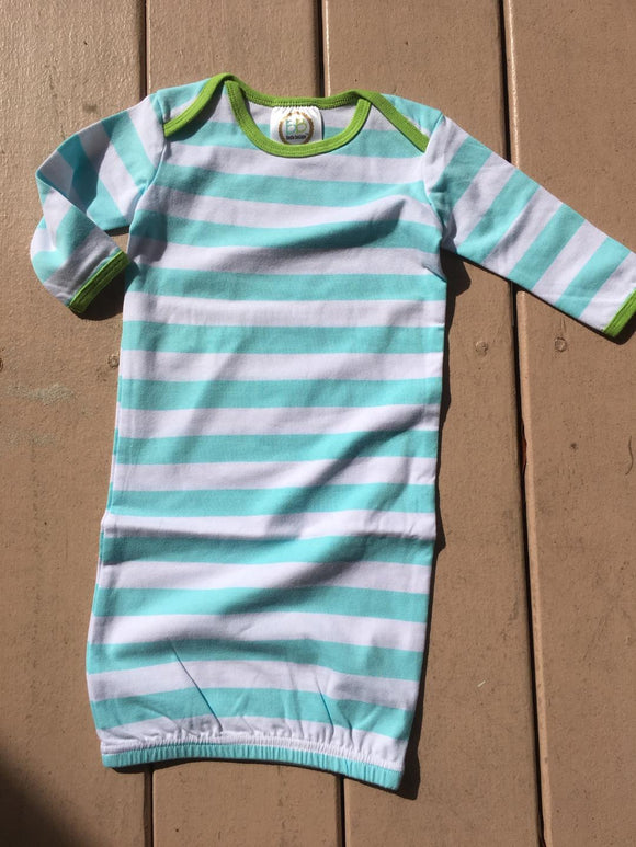 MONOGRAM STRIPE SLEEPER GOWN AQUA