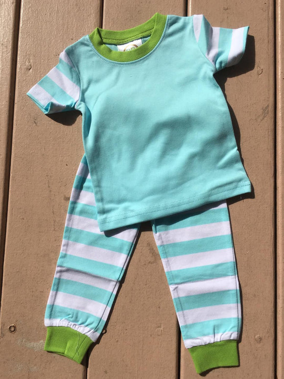 MONOGRAM SOLID & STRIPE PJS AQUA