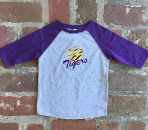 EMBROIDERED RAGLAN SLEEVE LSU EMBROIDERED T SHIRT