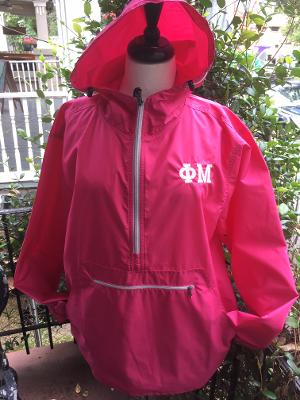 EMBROIDERED SORORITY RAIN PULLOVER ADULT