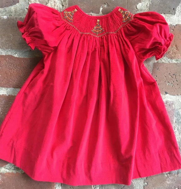 SMOCKED CHRISTMAS TREE BISHOP DRESS