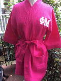 SORORITY EMBROIDERED WAFFLE ROBE