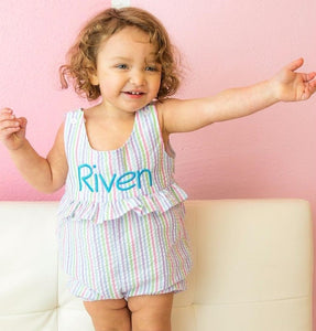 MONOGRAM SEERSUCKER  SUNSUIT OR ROMPER