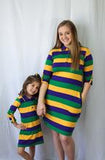 MARDI GRAS PURPLE GREEN GOLD ALL OVER STRIPED KIDS DRESS