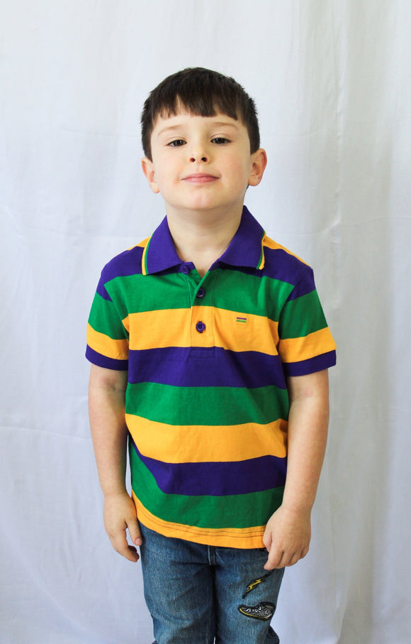 MARDI GRAS KIDS RUGBY PURPLE GREEN AND GOLD STRIPE