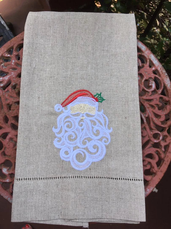 EMBROIDERED CHRISTMAS WHITE LINEN GUEST TOWEL BEAUTIFUL SANTA