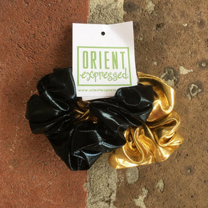 SAINTS  BLACK & GOLD SCRUNCHIES