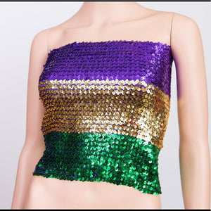 MARDI GRAS SEQUIN TUBE TOP