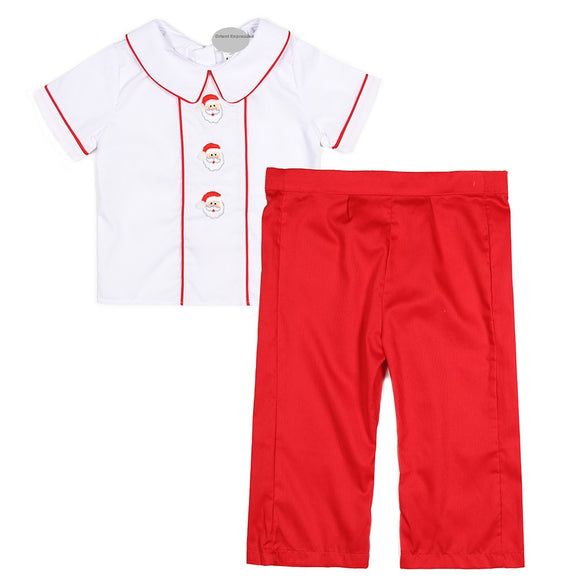 SANTA EMBROIDERED BOYS OUTFIT