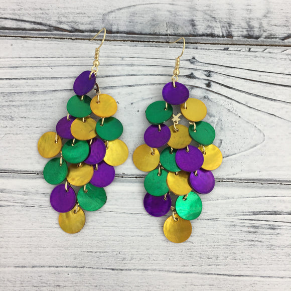 EARRINGS MARDI GRAS COLOR MULTI SHELLS