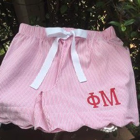 EMBROIDERED SORORITY SEERSUCKER SCALLOP HEMSHORTS