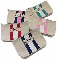 PAINTED MONOGRAM CANVAS POUCH or CLUTCH