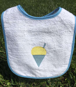 EMBROIDERED BLUE SNOWBALL TERRY  BIB