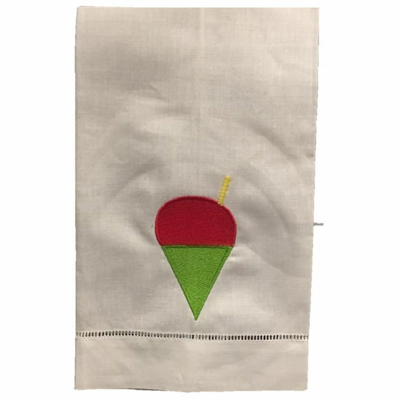 EMBROIDERED LINEN HAND TOWEL CHERRY FLAVOR SNOWBALL