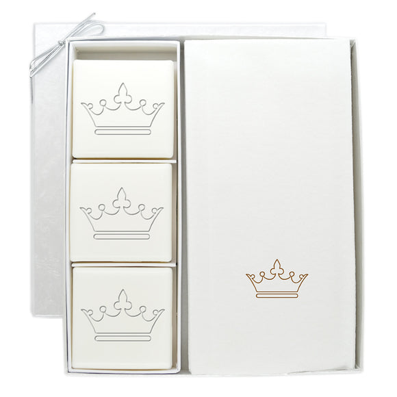 SOAP AND LINEN LIKE GUEST TOWEL SET CROWN