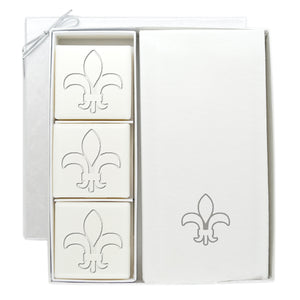SOAP AND LINEN LIKE GUEST TOWEL SET FLEUR DE LIS