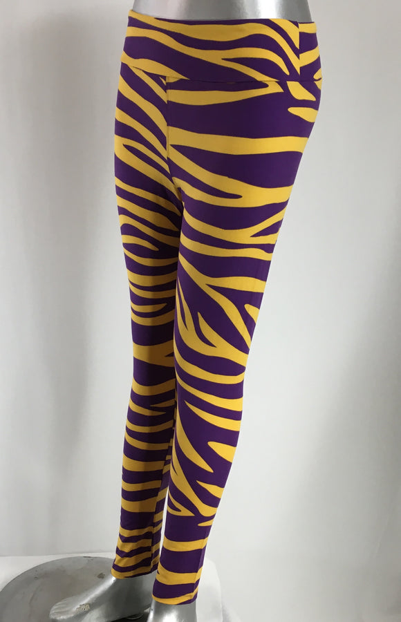 LSU TIGER PRINT LEGGINGS for ADULTS