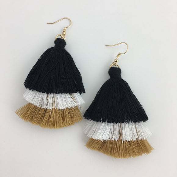 EARRINGS BLACK GOLD WHITE TASSELS