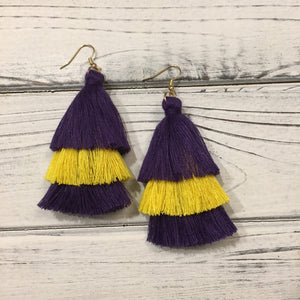 EARRINGS PURPLE & GOLD LSU TASSELS
