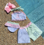 MONOGRAM 2PC SWIM SUIT SEERSUCKER COLOR BLOCK