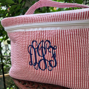 MONOGRAM SEERSUCKER TRAVEL COSMETIC BAG RED