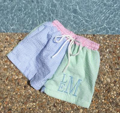 MONOGRAM SWIM TRUNKS SEERSUCKER COLOR BLOCK
