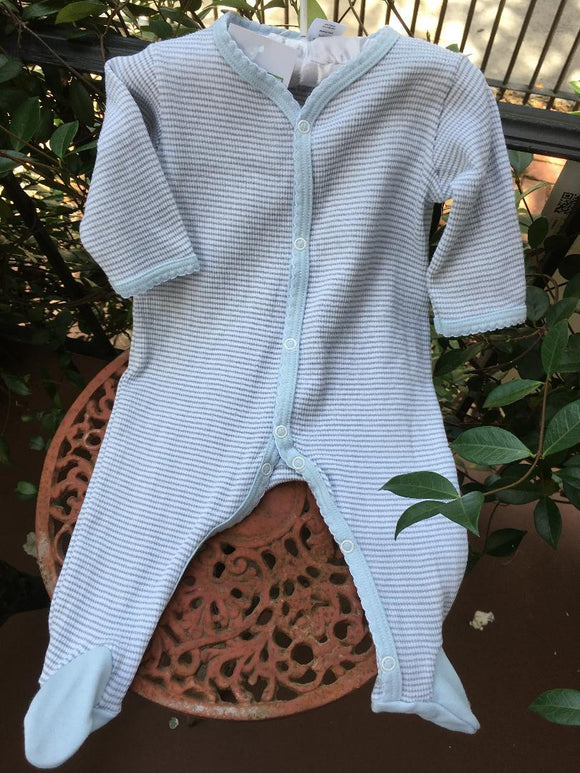 LAYETTE STRIPE FOOTIE GREY & BLUE