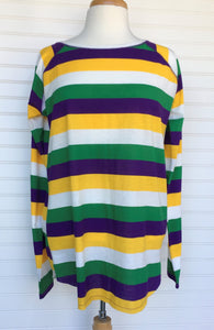 MARDI GRAS MULTI STRIPED ADULT KNIT TOP