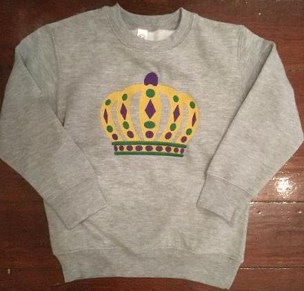 MARDI GRAS CROWN KIDS SWEATSHIRT