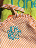 MONOGRAM SWIMSUIT CHECK SEERSUCKER ORANGE