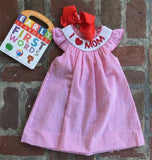 "SMOCK ""I LOVE MOM"" BISHOP DRESS"