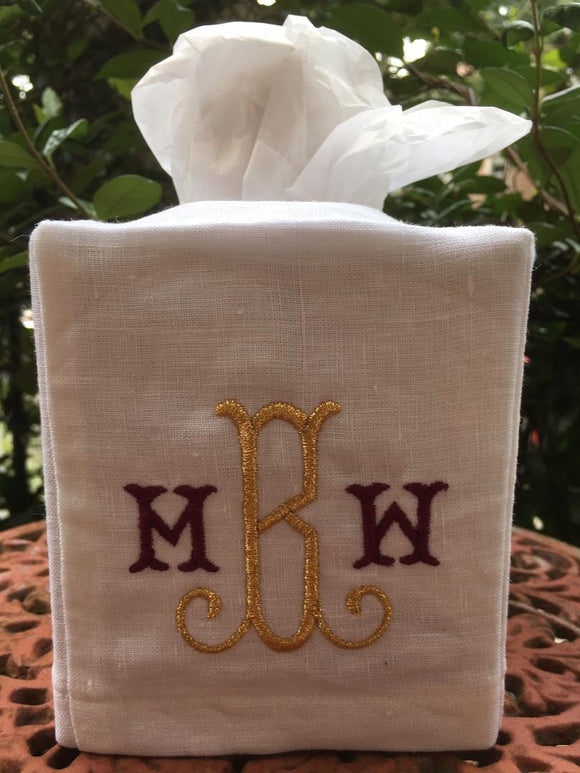 MONOGRAM EMBROIDERED LINEN TISSUE BOX COVER