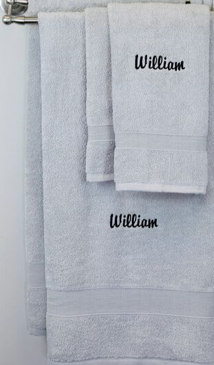 EMBROIDERED BATH TOWEL 8PC GRAY SET