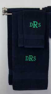 EMBROIDERED BATH TOWEL 8PC NAVY SET