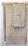 EMBROIDERED BATH TOWEL 8PC TAUPE SET