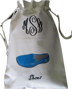 MONOGRAM EMBROIDERED TRAVEL SHOE BAG