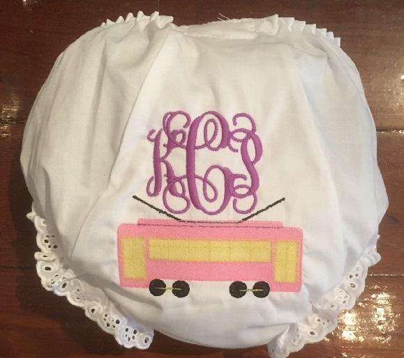 EMBROIDERED STREETCAR & VINES MONOGRAM EYELET DIAPER COVER