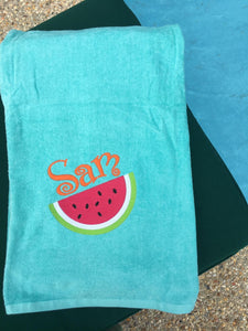 MONOGRAM BEACH TOWEL WATERMELON & NAME