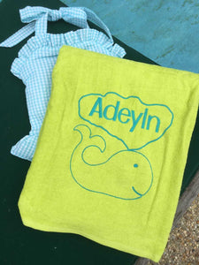MONOGRAM BEACH TOWEL WHALE & NAME