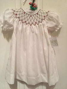 SMOCKED CHRISTMAS WHITE BISHOP DRESS