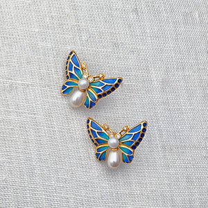 18ct yellow gold, diamond, pearl and enamel butterfly stud earrings