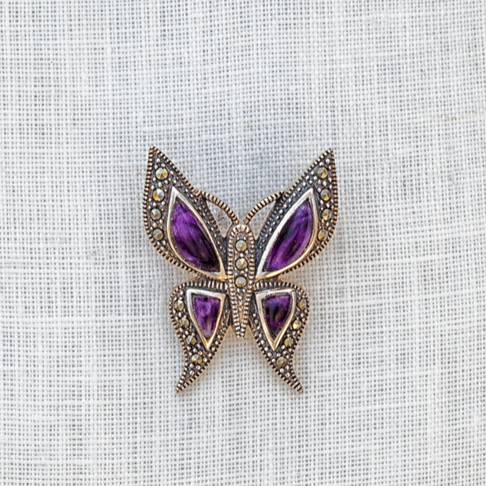 Sterling silver, Blue John and marcasite four stone pointy butterfly brooch
