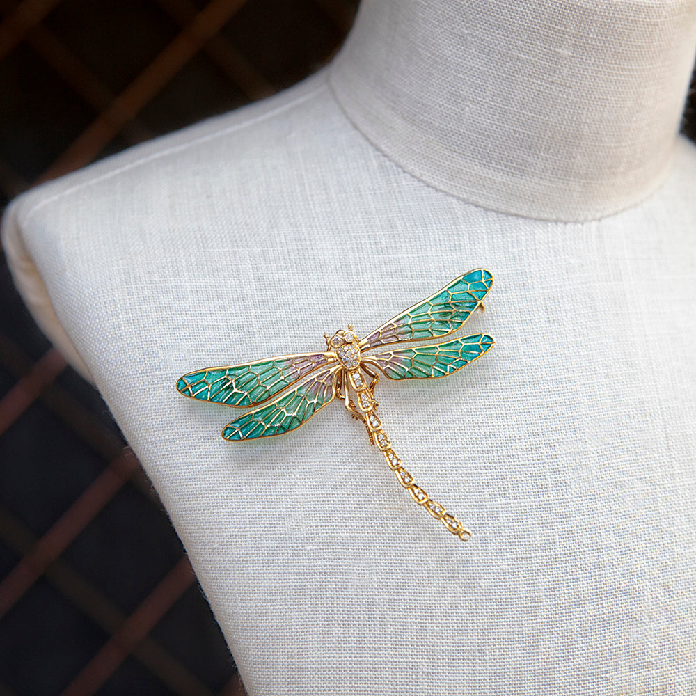18ct yellow gold, diamond and enamel dragonfly brooch necklace