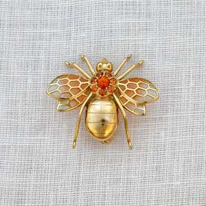 18ct yellow gold, orange sapphire and enamel wasp brooch